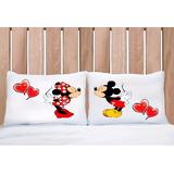 Conjunto Fronhas Personalizadas 50 X 70 Mickey E Minnie