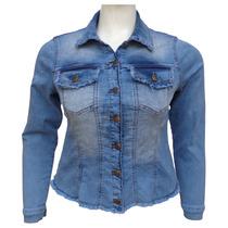 Jaqueta Jeans Feminina Desfiada - Plus Size Tamanhos G A Gg3