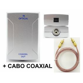 Conversor Adaptador Audio Óptico P/ Coaxial + Cabo Coaxial