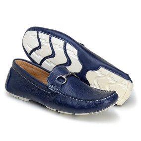 Sapatos Mocassim Masculinos Casual Azul Fivela Frete Gratis