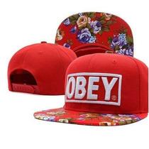 Gorra Obey Roja Con Floral Unisex Flat Ajustable - Dg Gold®