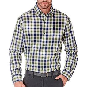 Camisa Cuadros Dmi 7418 Blanco-azul- Verde Caballero Oi