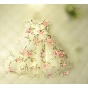 Vestido Fiestas C/flores Relieve/capas Tul Talles De 2 A 11