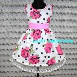 Vestido Infantil Importado Rosa Verde Floral 1 - 2 Anos