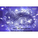 Pisca 100 Lâmpadas Led 8 Funções Branco C/ Fio Transparente