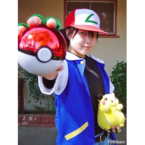 Jaqueta Ash Ketchum Pokémon Cosplay Tecido Oxford Com Luvas