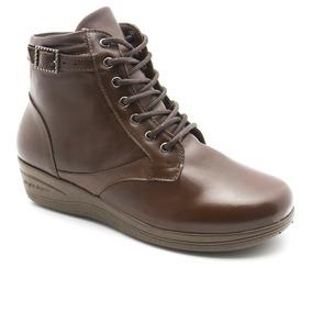 Bota Feminina Em Couro 209 Café Vegetal Doctor Shoes