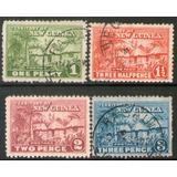 Nueva Guinea (australiana) 4 Sellos Chozas Indígenas 1925-27
