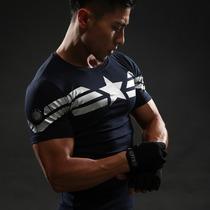 Camisa Playera De Compresión Superheroe Capitan America