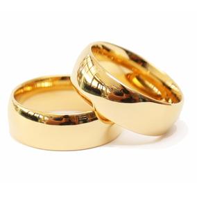 Par De Aliança Ouro Banhada 18k Casamento Meia Cana 6mm