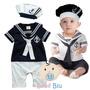Bebê Macacão Marinheiro Fantasia Gorro Infantil Fotografia