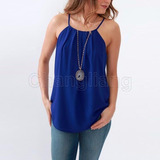 Blusa Azul Eléctrico De Chiffôn
