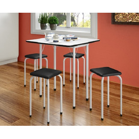 Conjunto Mesa Dobrável E 04 Banquetas Cozinha Sala Móveis