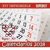 Kit Imprimible Calendarios 2018 Almanaques 2 0 1 8