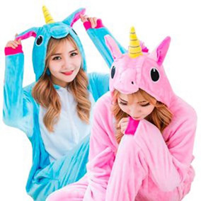 Piijama Mameluco Unicornio Disfraz Morado Azul Rosa Adulto