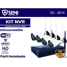 Kit Nvr 4 Cameras Wifi Sem Fio Ip Hd 100m Cftv Infravermelho