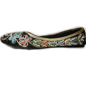 Calzado Hindú Balerina Bordada Con Brillos - Importado India