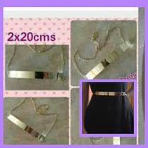 Cinturón Dama Placa Metal Dorado Con Cadena Vestidos Bragas