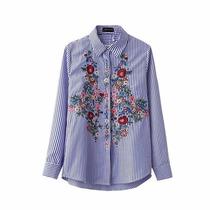 Camisa Bordada Mujer Rayada - En Stock Talles S M L