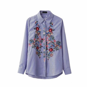 Camisa Bordada Mujer Rayada - Talles S M L En Stock!!