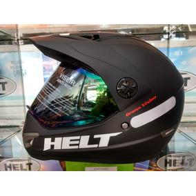 Capacete Helt Cross Vision Preto Fosco + Viseira Camaleão