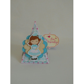 Caixa Pirâmide Personalizada No Tema Alice Festa Infantil