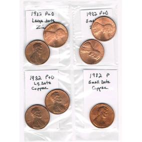1982 Centavo P&d Lincoln Conjunto De 7 Monedas-cobre Y Zinc-