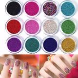 12 Frascos Efecto Caviar Nail Art Uñas Decoración Colores