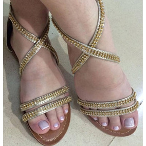 Sandalia Feminina Rasteira Dourada Com Strass Dourado