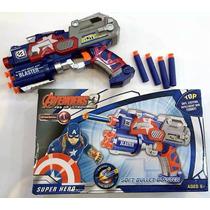 Arma Pistola Capitão América Lançador Nerf Atira Dardos
