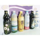 Botellas De Vidrio Pintadas Artesanales Exclusivas Arte Deco