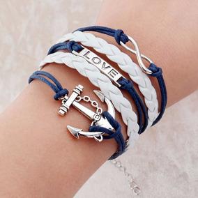 Pulseira Âncora Cordão Azul Branca Amor Love Frete 10,90