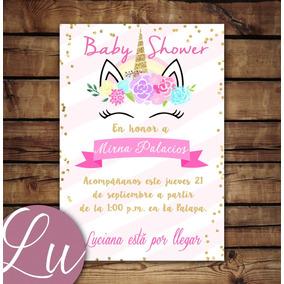 Invitacion Imprimible Personalizada Baby Shower Unicornio