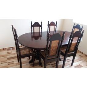 Jogo De Jantar Mesa Com 6 Cadeiras Madeira Imbuia Maciça