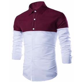 Camisa Social Masculina Slim Fit Duas Cores C Vinho Bordo Ca