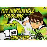 Kit Imprimible Ben 10 Tarjeta Editable Candy Bar Golosinas