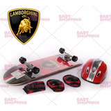 Skate Patineta Lamborghini Set Proteccion Casco Coderas