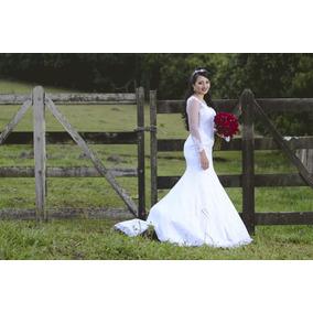 Vestido De Noiva Sereia + Véu E Saiote