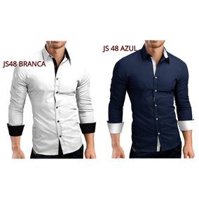 Kit Com 2 Camisa Social Slim Fit + 20 Modelos - Frete Gratis