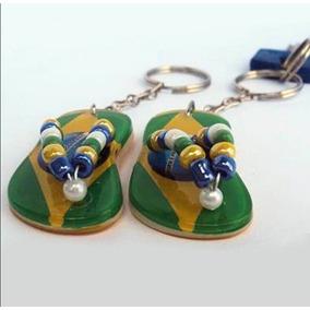 12 Chaveiros Brasil Mini Sandália Miçanga Copa 2018 + Brinde