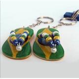 12 Chaveiros Brasil Mini Sandália Miçanga Souvenir