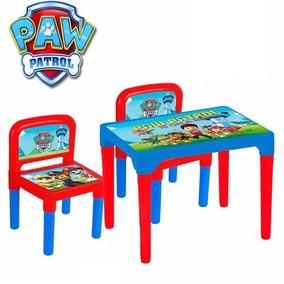 Mesa Com 2 Cadeiras Infantil Patrulha Canina Mesinha Escolar
