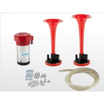 Kit Buzina Ar 2 Cornetas Elétrica Vermelha 12v Veiculos