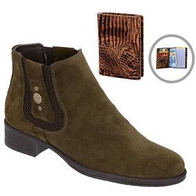 Botina Chelsea Boots Verde Feminina Em Couro + Brinde