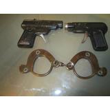 2 Antguas Pistolas Y Esposas Germany De Juguete