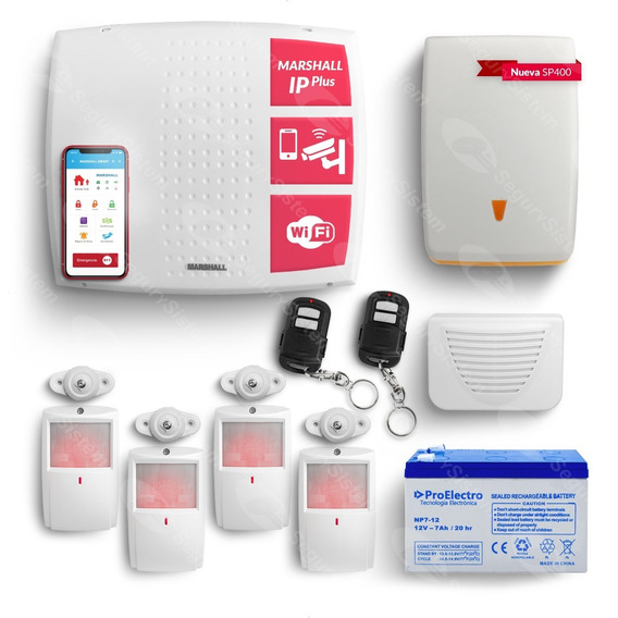Kit Alarma Casa Domiciliaria Marshall Wifi Ip Internet Pir