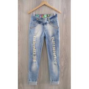 Calça Jeans Owzzy Rasgada Detonada Com Pedrarias Cós Médio