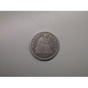 Moeda Usa Quarter Dollar 1847 Prata