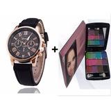 Relógio Feminino + Paleta De 12 Cores