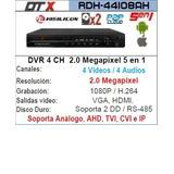 Dvr Dtx 4ch P2p Resolución 2.0 Mp Soporta 2 Discos Duros
